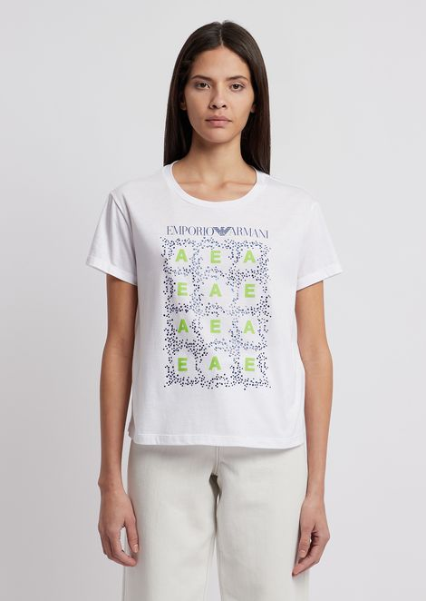 T-shirt in jersey con stampa e strass