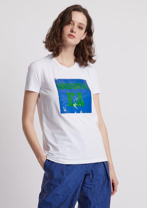 T-shirt in jersey con logo di paillettes reversibile