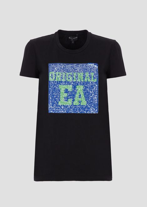 T-shirt in jersey with logo in reversible sequins