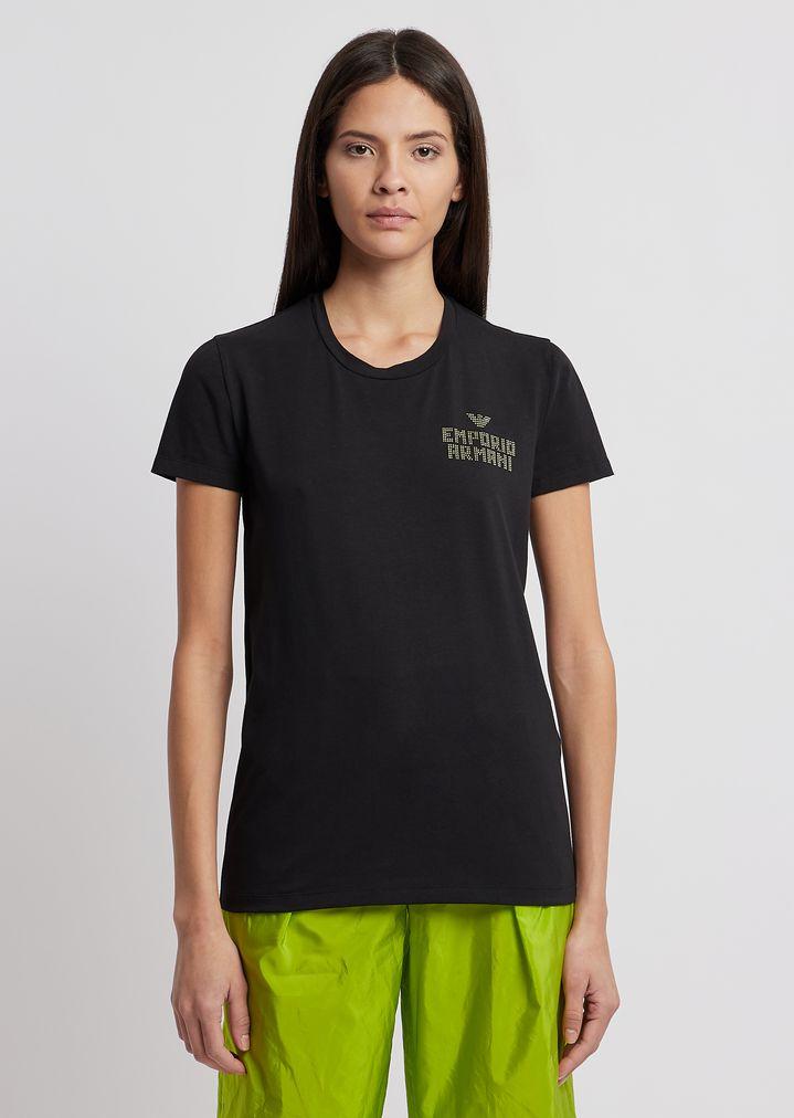 f3a44466e7 Jersey T-shirt with rhinestone logo