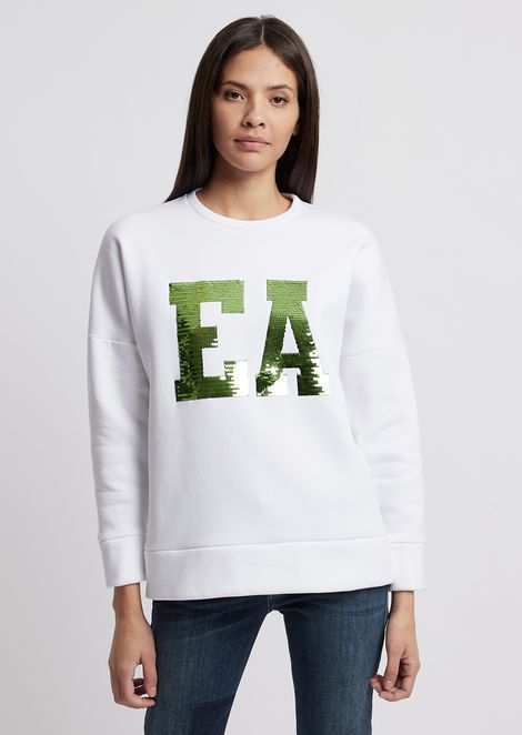 Sweatshirt with maxi-logo in contrasting sequins