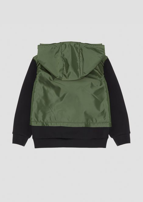 Cotton sweatshirt with upper part in tech fabric