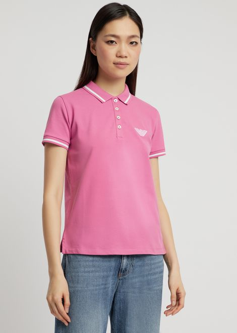 Cotton pique polo shirt with contrasting details