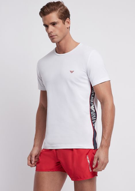 Stretch cotton T-shirt with logo bands