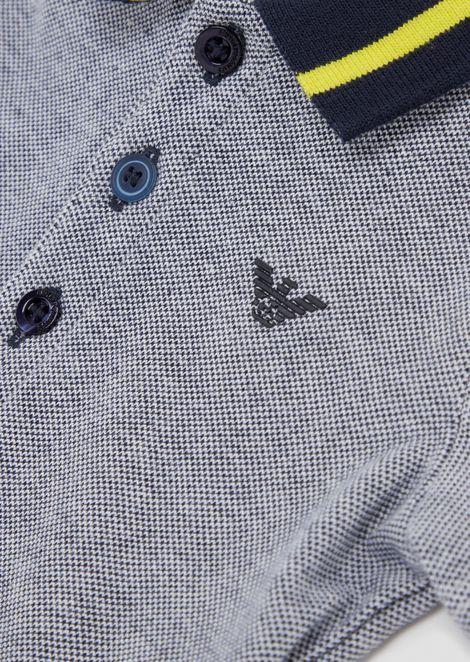 Poloshirt aus Baumwollpikee mit Kontraststreifen