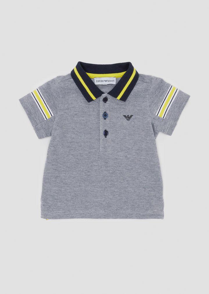 f7e957649d Cotton piqué polo shirt with contrasting bands