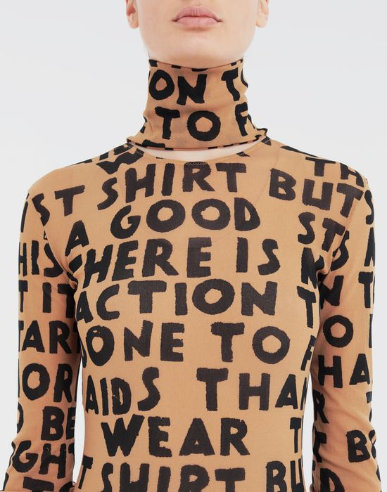 MM6 MAISON MARGIELA Charity AIDS-print bodysuit Body [*** pickupInStoreShipping_info ***] a