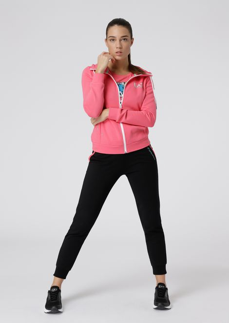 Full-zip, stretch cotton sweatshirt with hood