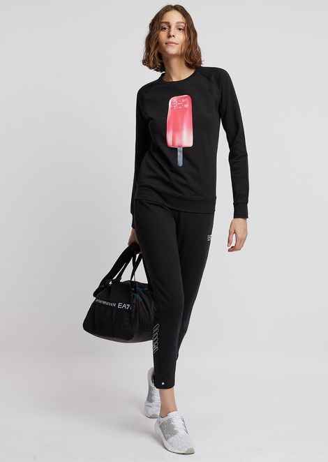 Cotton sweatshirt with ice-cream print