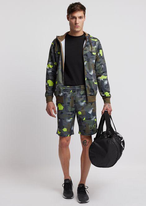 Felpa con cappuccio e zip in tessuto camouflage