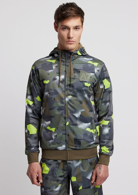 Sweatshirt with hood and zip in camouflage fabric