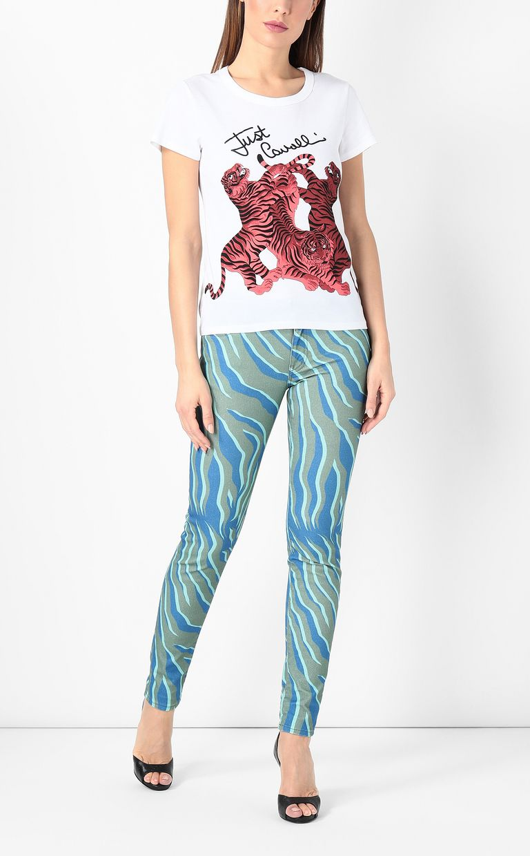 JUST CAVALLI T-shirt with tigers print Short sleeve t-shirt Woman d