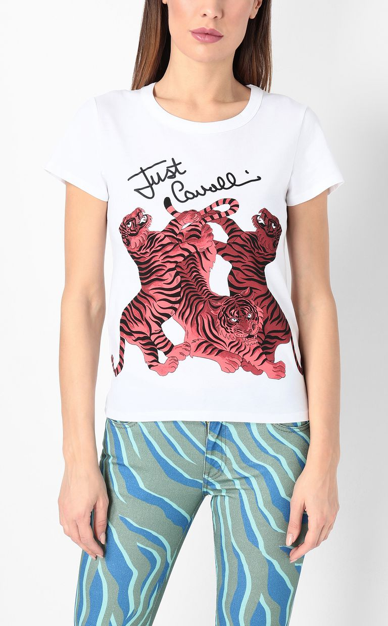 JUST CAVALLI T-shirt with tigers print Short sleeve t-shirt Woman r