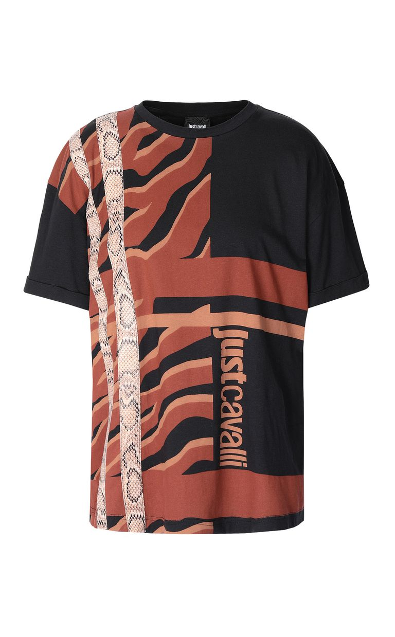 JUST CAVALLI T-shirt with zebra-stripe print Short sleeve t-shirt Woman f