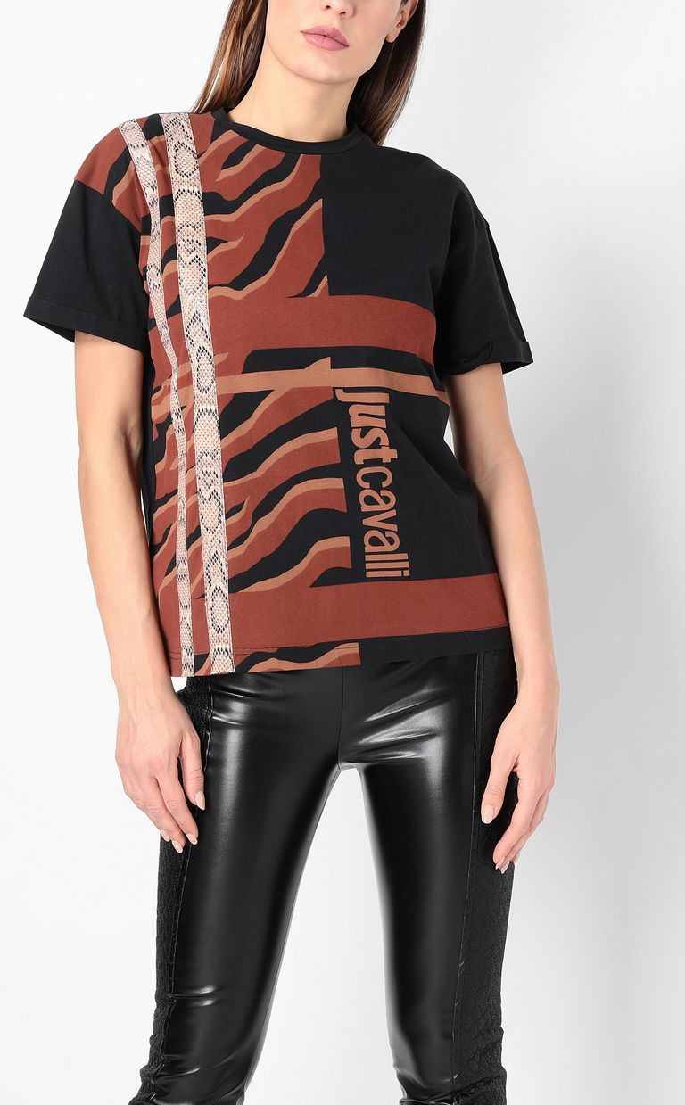 JUST CAVALLI T-shirt with zebra-stripe print Short sleeve t-shirt Woman r