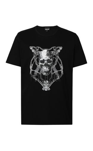 JUST CAVALLI Short sleeve t-shirt Man Tiger over Skull t-shirt f