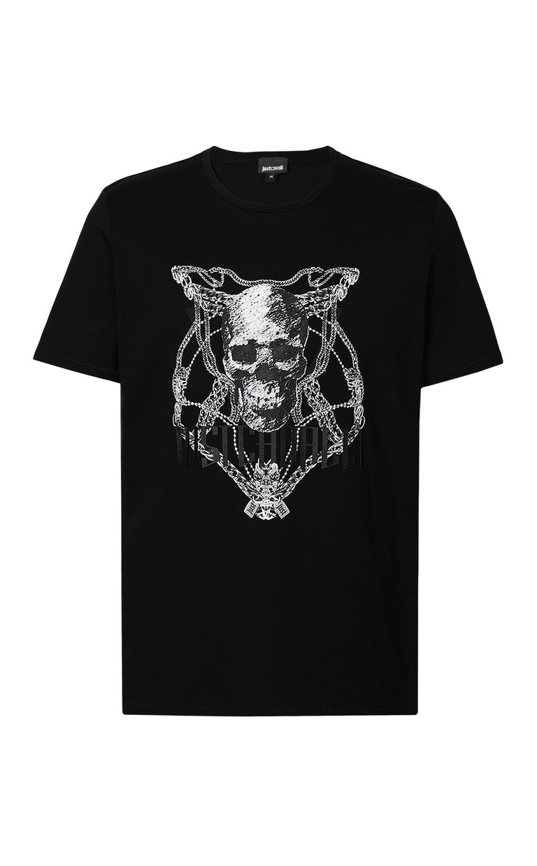 JUST CAVALLI Chain-skull t-shirt Short sleeve t-shirt Man f