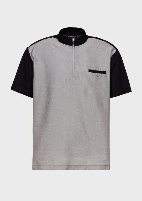 Shirt with jersey back and sleeves