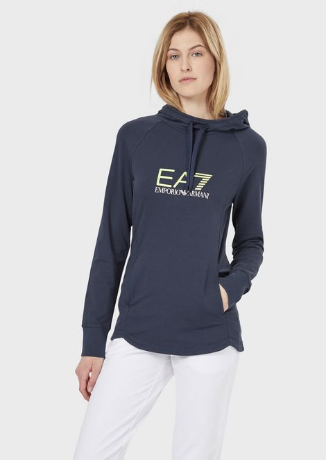 Stretch cotton sweatshirt with hood
