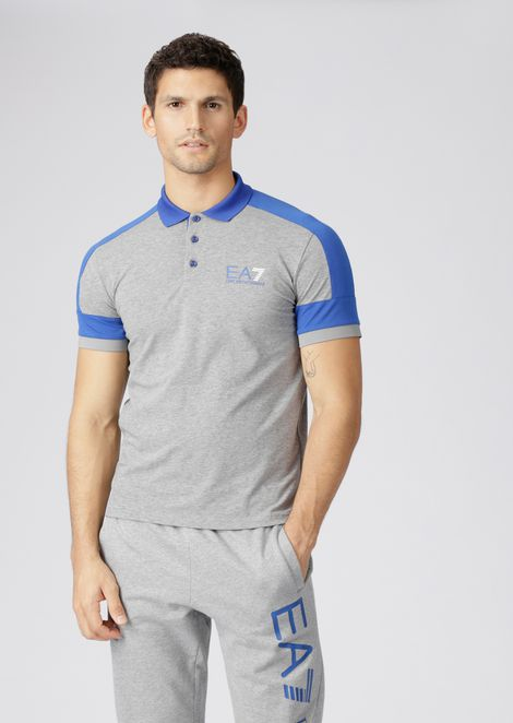 Stretch cotton jersey polo shirt with EA7 logo