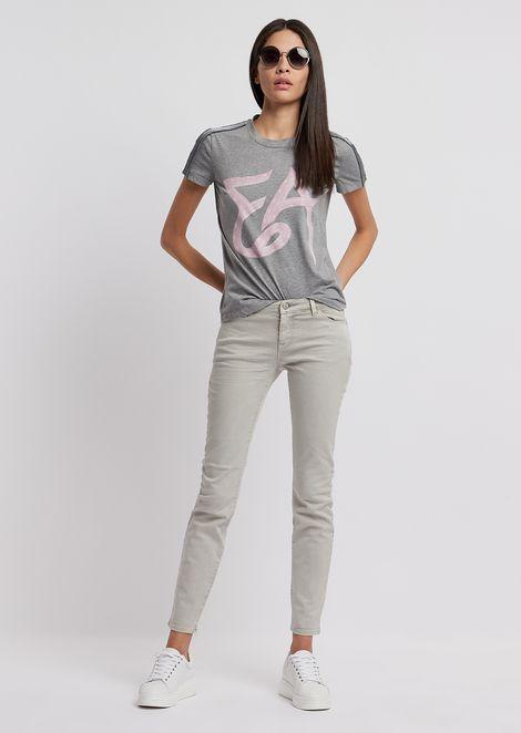 T-Shirt aus Jersey mit Logo und Schulterstreifen aus Satin