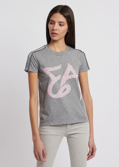 2dbff47839e3 Jersey T-shirt with logo and satin bands on the shoulders