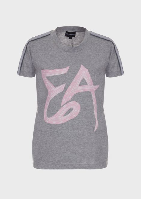 Jersey T-shirt with logo and satin bands on the shoulders