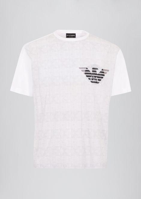 Camiseta de punto con parte delantera de fantasía y logotipo