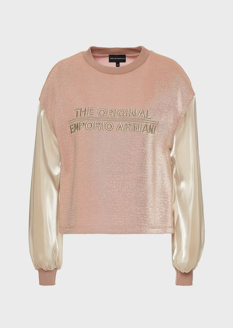 "Maglia in lurex con maniche satinate e ricamo ""The original Emporio Armani"""