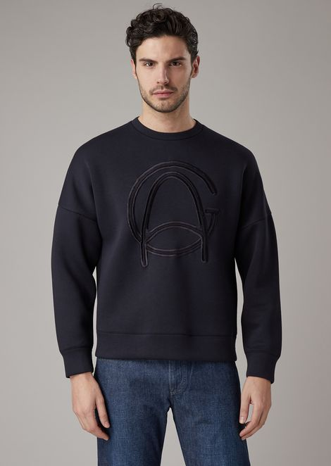 Sweatshirt in bonded jersey with hand-embroidered GA logo