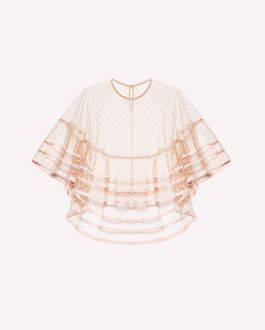 REDValentino Point d'Esprit tulle poncho with zagana detail