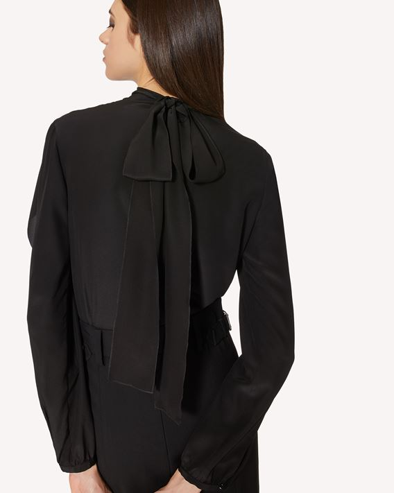 REDValentino Silk top with ruffle