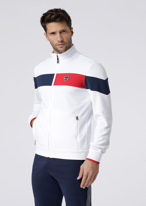 Full-zip sweatshirt with contrast bands and championship badge