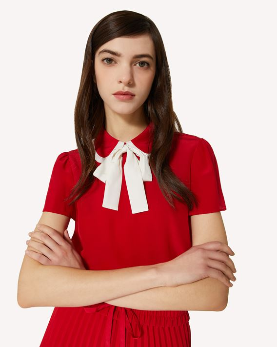 REDValentino Silk top with collar bow detail