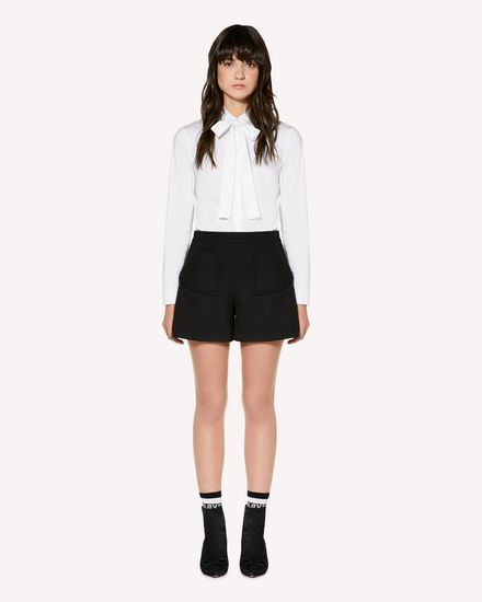 Cotton Poplin shirt with rounded collar and bow