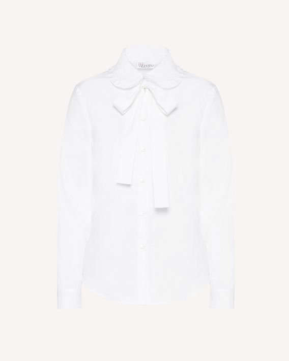 REDValentino Cotton-poplin shirt with bow detail collar