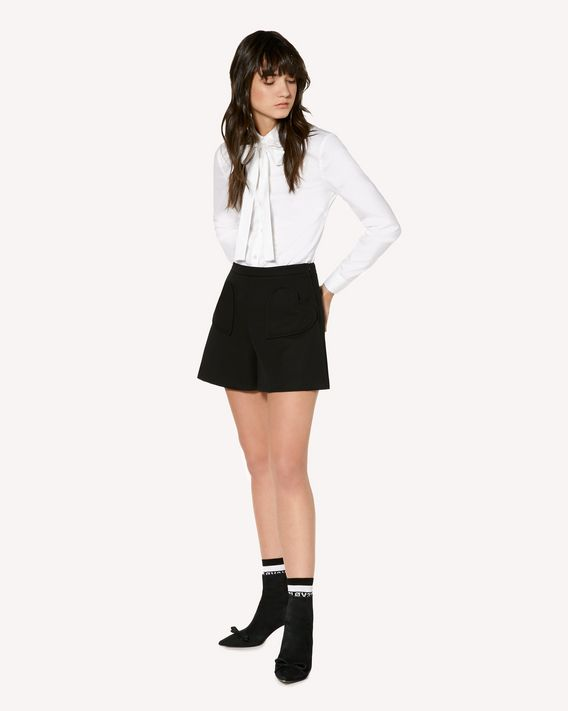 REDValentino Cotton Poplin shirt with rounded collar and bow