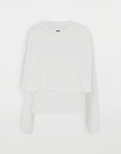 TOPS & TEES Double layer top White