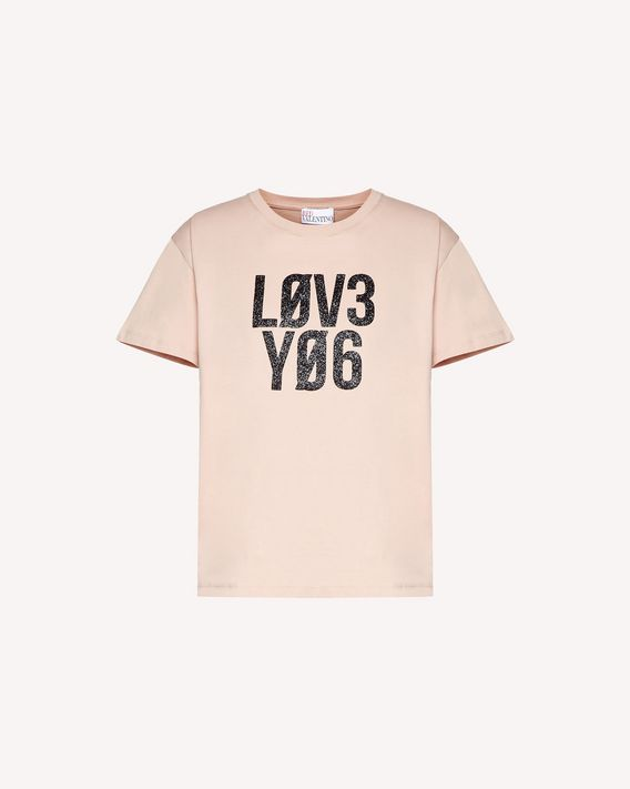 "REDValentino T-Shirt mit glitzerndem ""Love You""-Print"