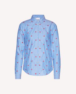 REDValentino Striped Oxford shirt with heart embroidery