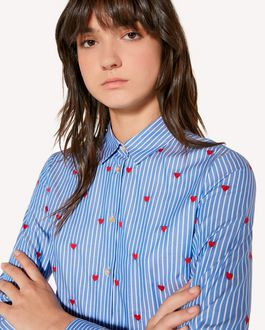 REDValentino Striped Oxford shirt with heart embroidery.