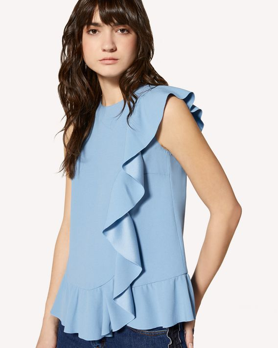 REDValentino Limited Edition   Ruffle detail crepe envers satin top