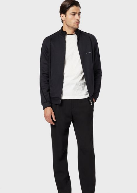 Jersey blouson in double-thickness micromodal with tape