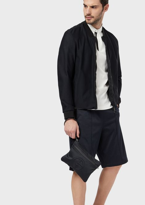 Blouson in gaufre technical warp-knitted fabric
