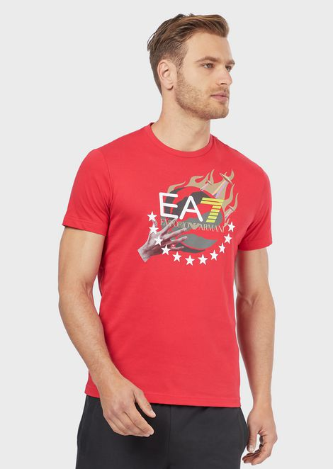 Train Graphic pure cotton T-shirt with basketball print