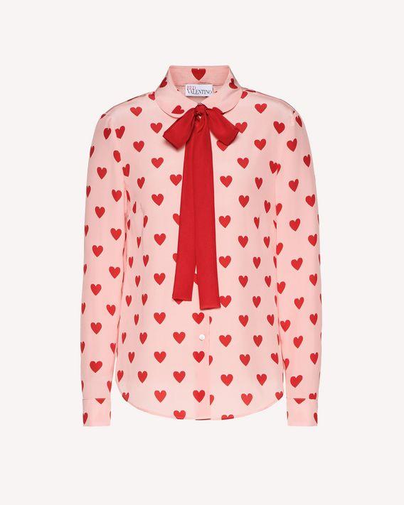 REDValentino Chemise en soie avec imprimé cœurs