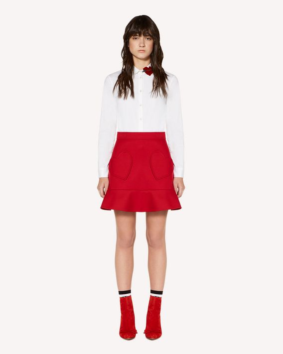 REDValentino Cotton-poplin shirt with heart patch detail