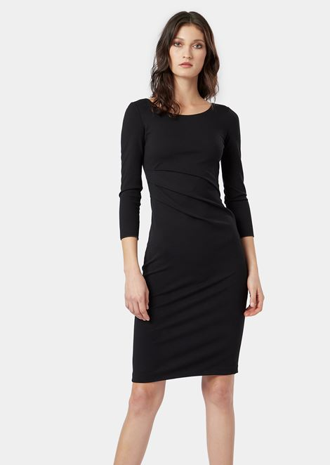 Milano stitch jersey dress with slanting pleats at the waistline