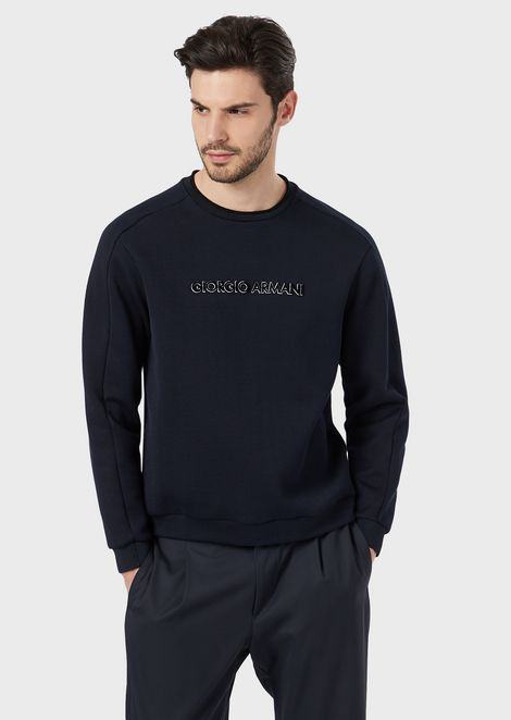Jacquard fabric sweatshirt with matching chenille details