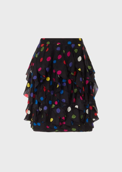 Skirt with polka-dot satin crêpe flounces